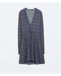 Zara Shiny V-neck Dress with Waist Seam - Lyst
