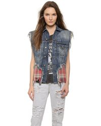 R13 Double Denim & Plaid Vest - Denim Vintage Red - Lyst