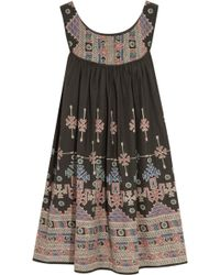 Kate Moss For Topshop Printed Cotton Mini Dress - Lyst