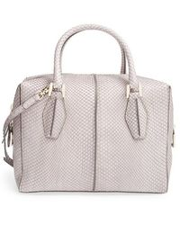 Tod's Women'S 'Small D Cube' Genuine Python Bowler Bag - Grey - Lyst