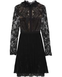 Notte By Marchesa Lace Tulle and Chiffon Mini Dress - Lyst