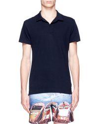 Orlebar Brown 'Felix' Mélange Cotton Piqué Polo Shirt blue - Lyst