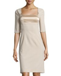 Philosophy di Alberta Ferretti Satin-Inset Square-Neck Dress gold - Lyst