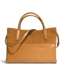 22ed53dc2849 COACH - Large Soft Borough Bag In Retro Glove Tan Leather And Suede - Lyst