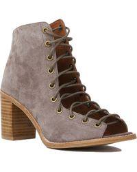 Jeffrey Campbell Cors Lace Up Taupe Suede Heeled Booties - Lyst