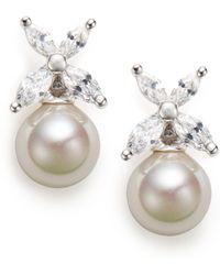 Majorica 8mm Grey Pearl  Sterling Silver Flower Earrings - Lyst