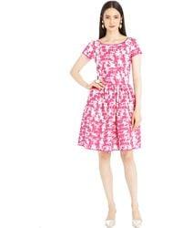 Oscar de la Renta Marbled Tweed Print Stretch Cotton Dress - Lyst