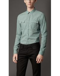 Burberry Slim Fit Utility Pocket Cotton Shirt - Lyst