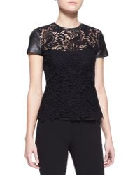 Ralph Lauren Black Label - Lana Leather-Sleeve Lace Top - Lyst