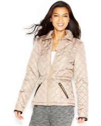 Krush | Faux-Leather-Trim Quilted Jacket | Lyst