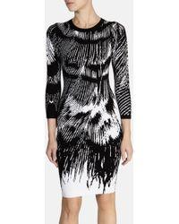 Karen Millen Stripe Feather Pattern Knit Dress - Lyst