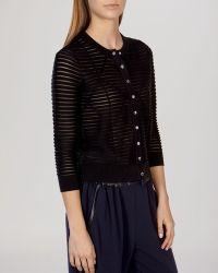 Karen Millen Cardigan - Sheer Texture Knit black - Lyst