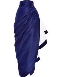 Rosie Assoulin Silk-Faille Ruffled Skirt blue - Lyst