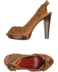 Kenzo Beige Platform Sandals - Lyst