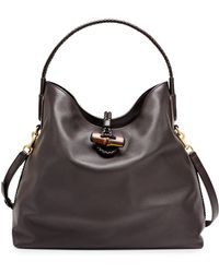 Gucci Hip Bamboo Leather Shoulder Bag - Lyst