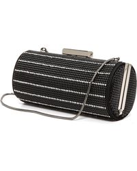 Whiting & Davis Crystal Pinstripes Clutch - Black - Lyst