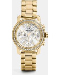 COACH - Legacy Sport Multifunction Gold Plated Bracelet Watch - Lyst