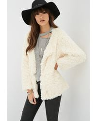 Forever 21 Collarless Faux Fur Coat - Lyst