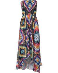 Jane Norman Printed Dip Hem Beach Dress - Lyst