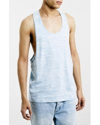 Topman Slim Fit Space Dyed Tank Top blue - Lyst