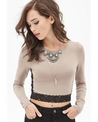 Forever 21 Lace Trim Crop Top - Lyst