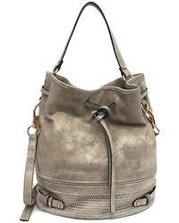 She + Lo - Silver Lining Perforated Leather Drawstring Bag - Lyst