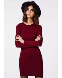 Missguided Rainey Long Sleeve Bodycon Dress Oxblood - Lyst