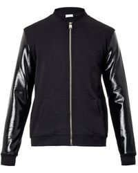 Saint Laurent Contrast-sleeve Jersey Bomber Jacket - Lyst