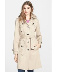 London Fog Grommet Detail Long Hooded Trench Coat - Lyst