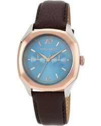 Vince Camuto - Men'S Brown Leather Strap Watch 42Mm Vc/1058Lbtr - Lyst