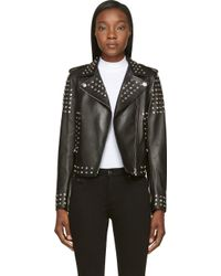 Versace  Leather Jacket with Silver Studs - Lyst