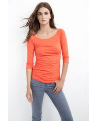 Velvet By Graham & Spencer Cara Gauzy Whisper Shirred Raglan Top - Lyst
