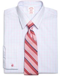 Brooks Brothers Noniron Traditional Fit French Cuff Micro Overcheck Dress Shirt - Lyst