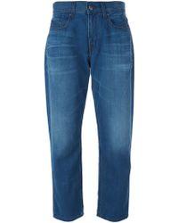 Victoria Beckham Cropped Boyfriend Jeans - Lyst