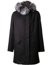 Yves Salomon Black Oversized Coat - Lyst