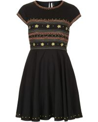 Topshop Folk Embroidered Flippy Dress - Lyst