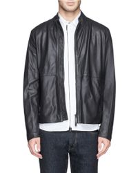 Armani Perforated Leather Bomber Jacket - Lyst