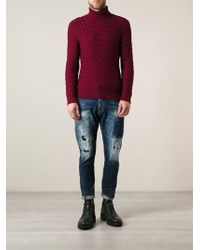 DSquared2 Distressed Straight Jeans - Lyst