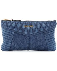 Miu Miu Denim Clutch - Lyst