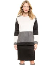 By Malene Birger Hermeline Colorblock Pullover Grey - Lyst