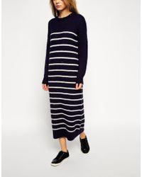 Asos Midi Sweater Dress In Brushed Stripe - Lyst