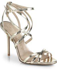 Burberry Alyssa Metallic Leather Sandals - Lyst