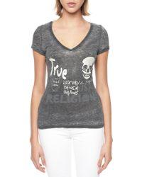 True Religion European Crystal Skull Star Womens T-Shirt - Lyst