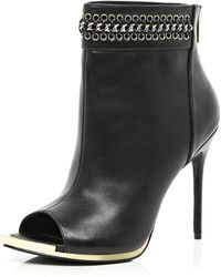 River Island Black Chain Detail Peep Toe Stiletto Boots - Lyst
