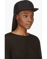 DRKSHDW by Rick Owens Black Leather and Canvas Snap_back Baseball Cap - Lyst