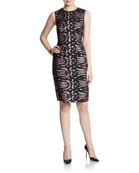 Versace Metallic Jacquard Sheath Dress - Lyst