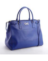 Ferragamo Sapphire Blue Leather Double Gancio Large Tote - Lyst
