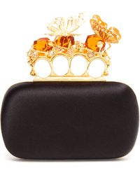 Alexander McQueen Knuckle Duster Satin Box Clutch - Lyst