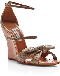 Tabitha Simmons Clara Snakeskin Wedge Sandals - Lyst