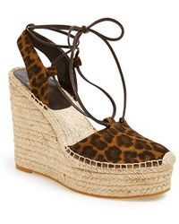 Saint Laurent Espadrille Wedge Sandal - Lyst